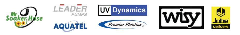 We carry products by Premier Plastics, Leader, Aquatel, Mr. Soaker Hose, UV Dynamics, Wisy and Jobe